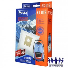 Мешок для пылесосов нетканый одноразовый Electrolux, AEG, Philips упаковка 4 шт + 2 фильтра Веста EX01S